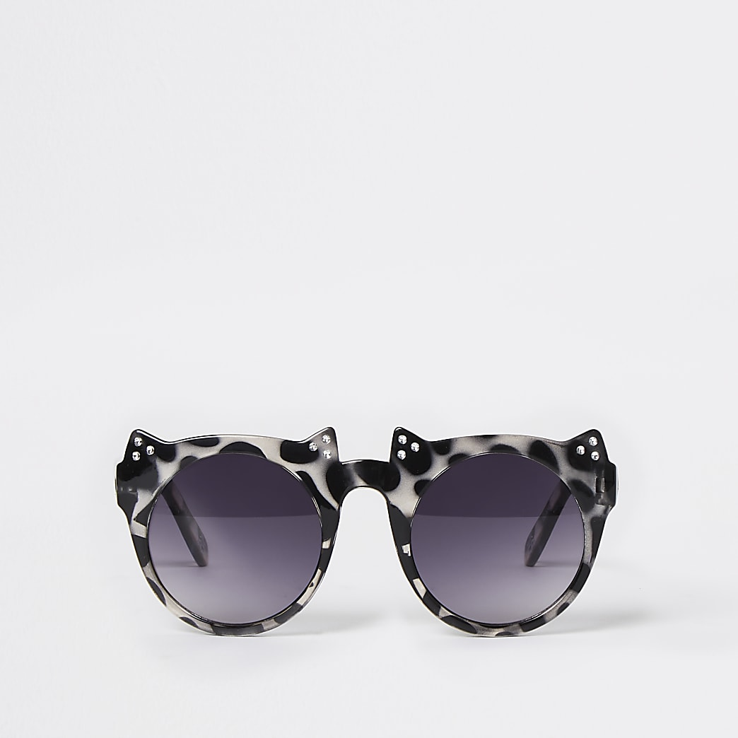 Mini girls black tortoise cat eye sunglasses