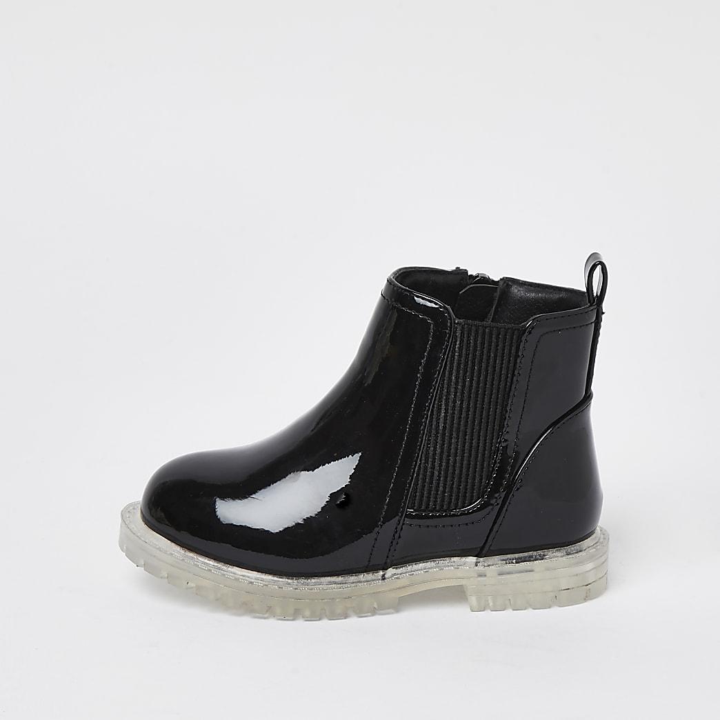 Mini girls black translucent sole boots