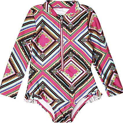 Mini girls black tribal print swimsuit