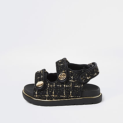 Mini girls black velcro boucle strap sandals