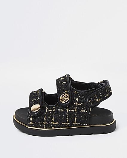 Mini girls black velcro boucle strap sandals