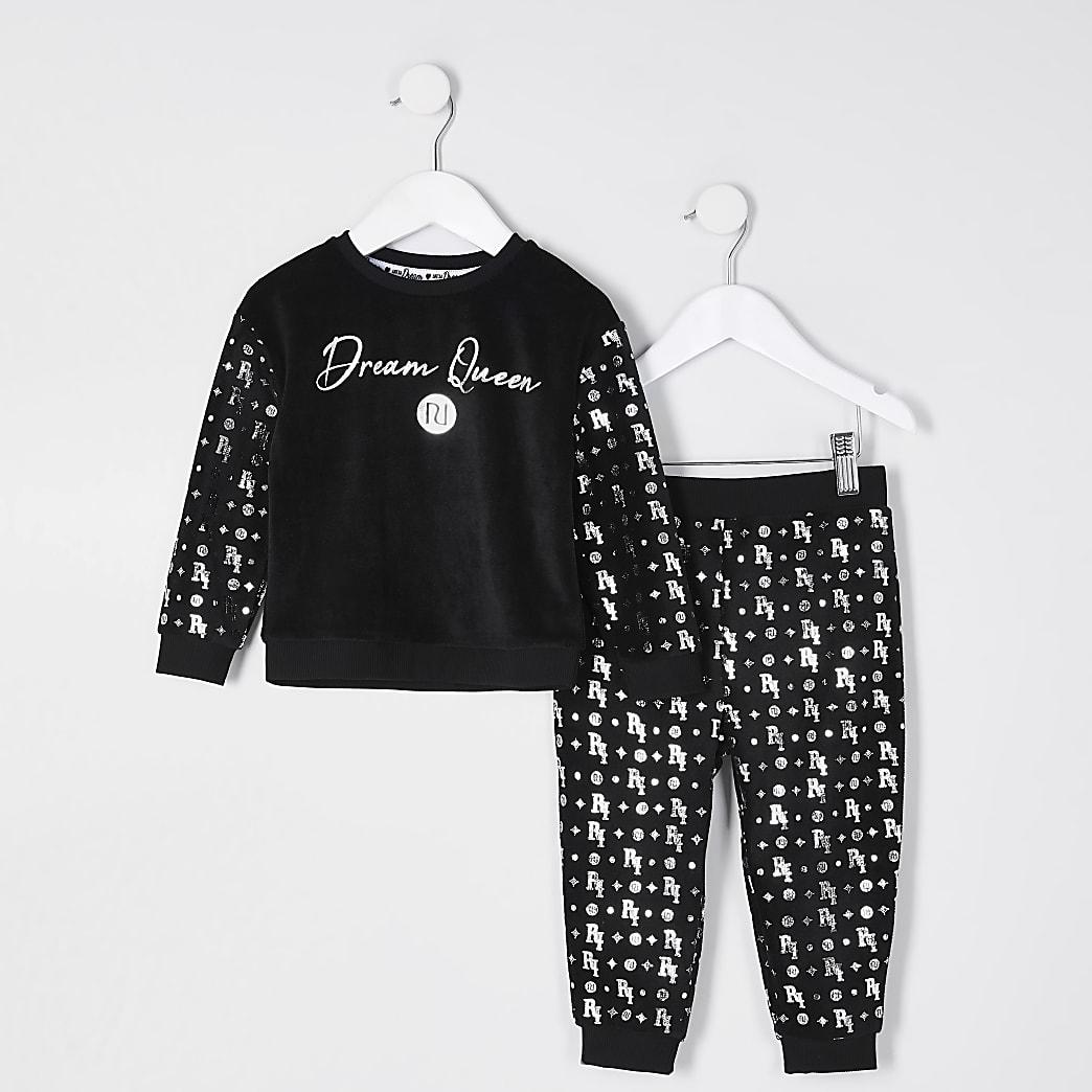 Mini girls black velour pyjamas set