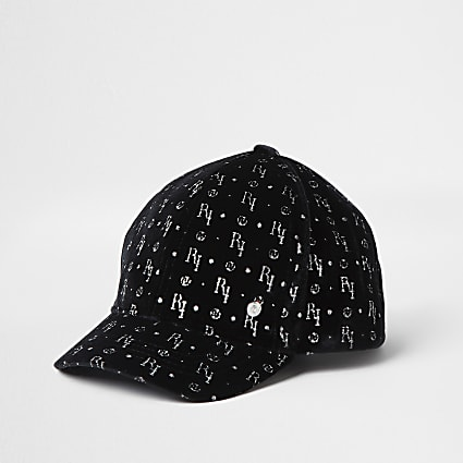 Mini girls black velvet RI monogram cap