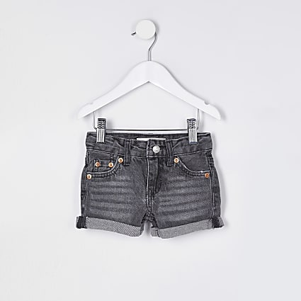 Mini girls black wash Levi's denim shorts