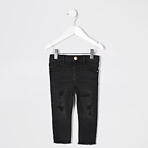 Mini - Molly - Zwarte wash ripped jeans voor meisjes