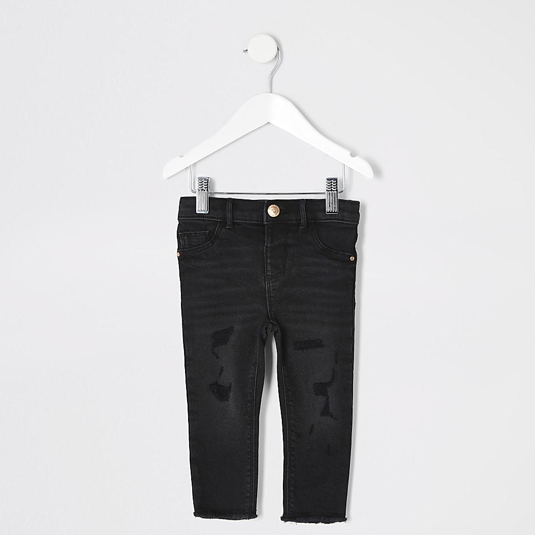 Mini – Schwarze Molly-Jeans im Used-Look mit Waschung für Mädchen