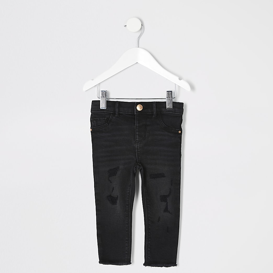Mini girls black wash ripped Molly jeggings