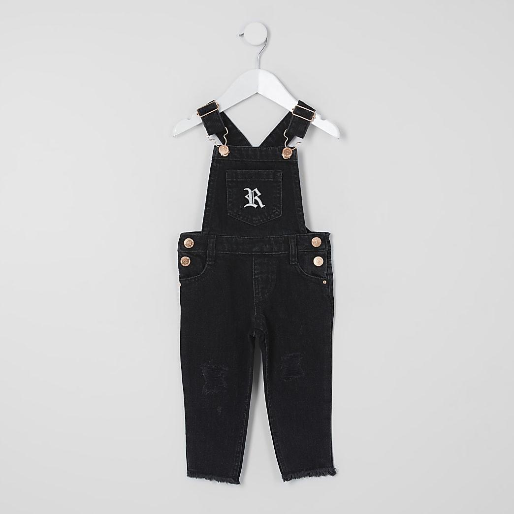 Mini - Zwarte washed denim tuinbroek voor meisjes