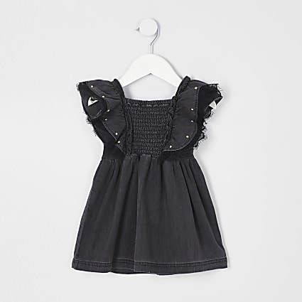 Mini girls black washed stud shirred dress