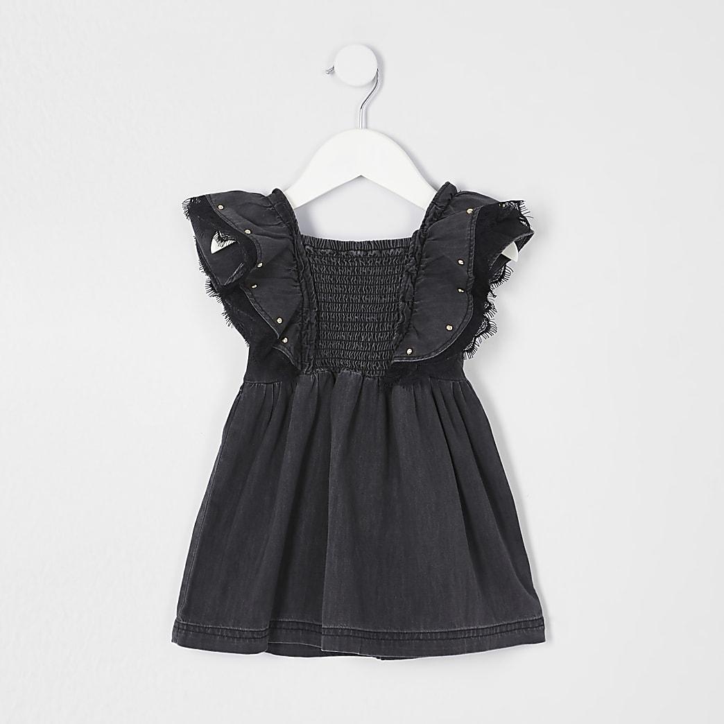 Mini girls black washed stud shirred dress