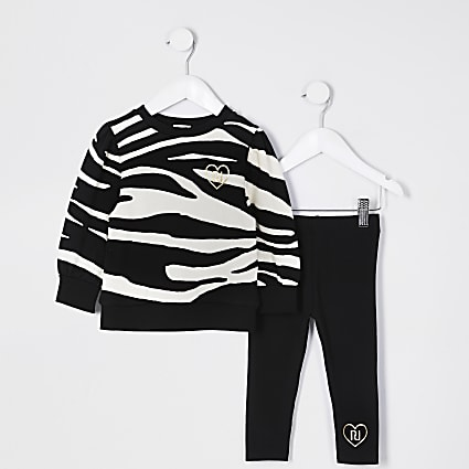 Mini girls black zebra sweat legging outfit