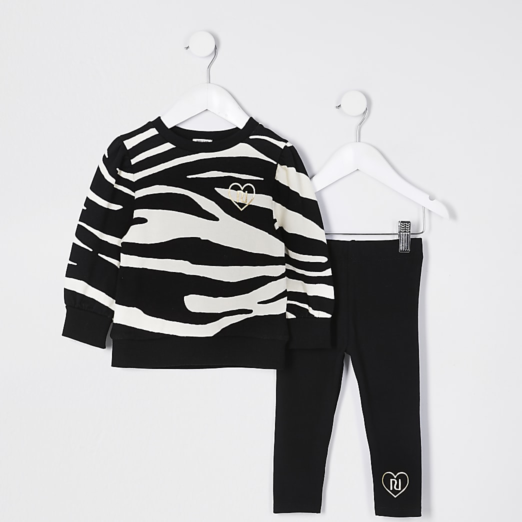 Mini girls black zebra sweat legging outfit