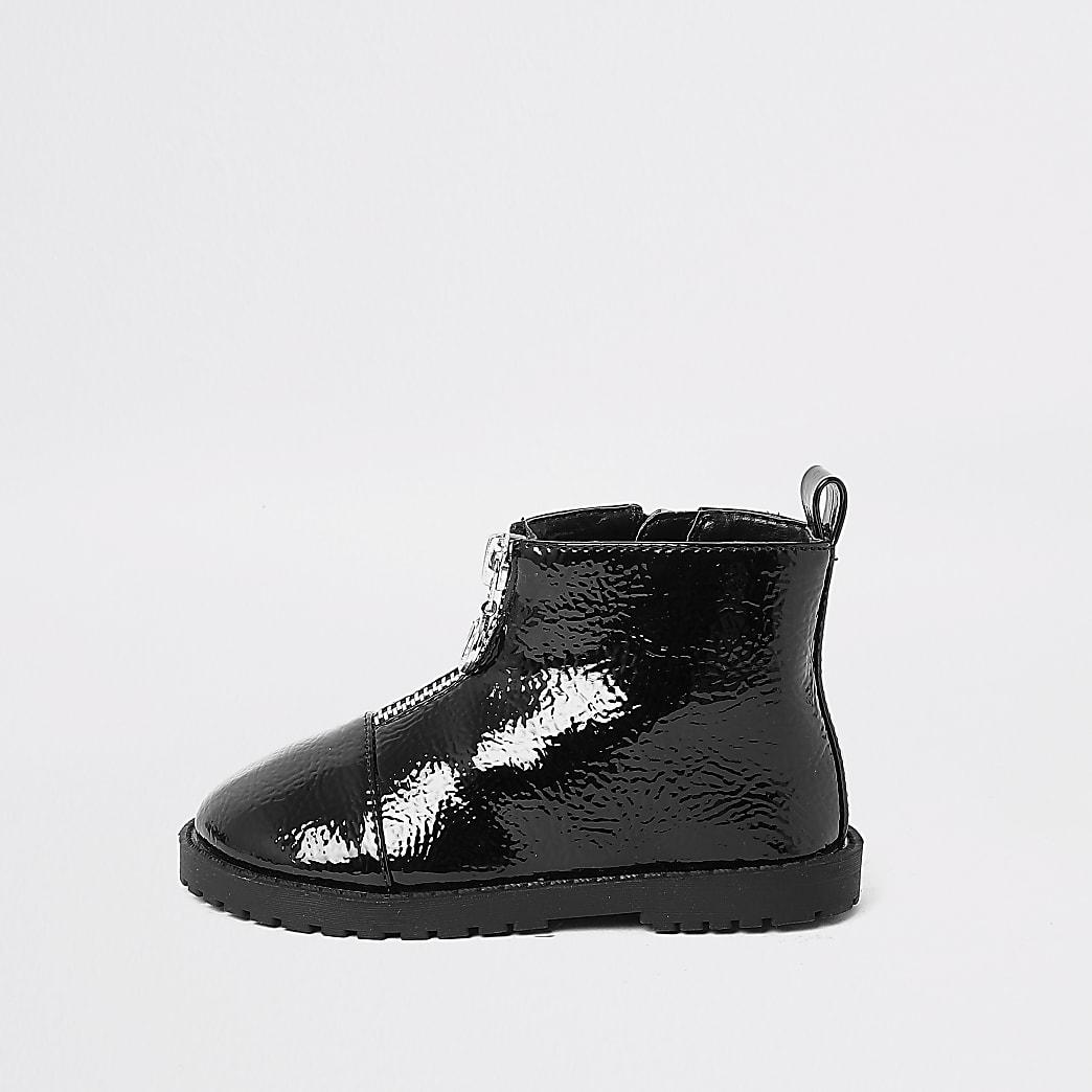 Mini girls black zip front boot
