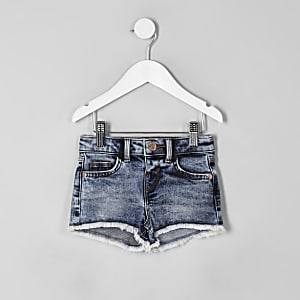 Mini girls blue acid wash denim shorts