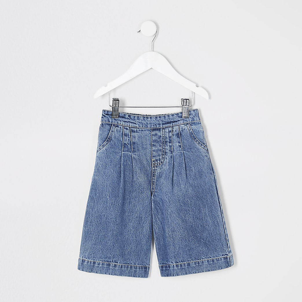 Mini girls blue Alexa wide leg crop jeans