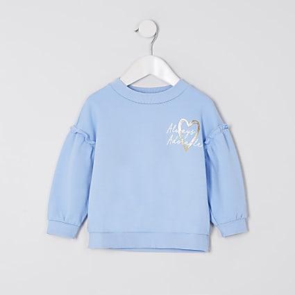 Mini girls blue 'Always adorable' sweatshirt