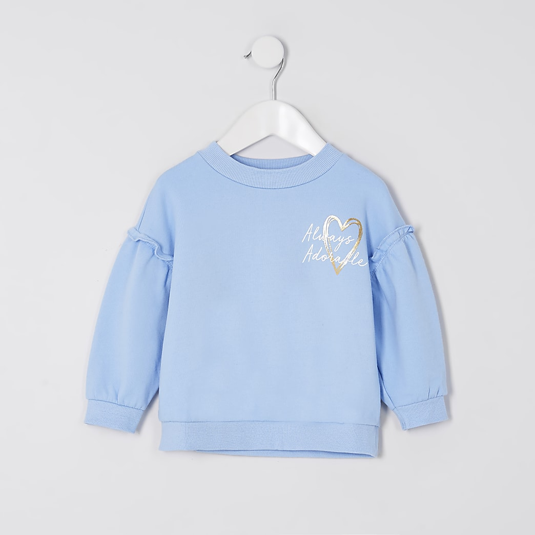 Mini girls blue 'Always adorable' sweatshirt