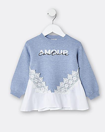 Mini girls blue 'Amour Couture' poplin jumper