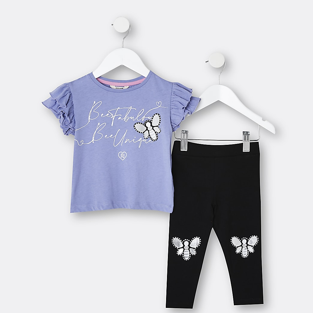 Mini girls blue 'Bee Unique' t-shirt outfit