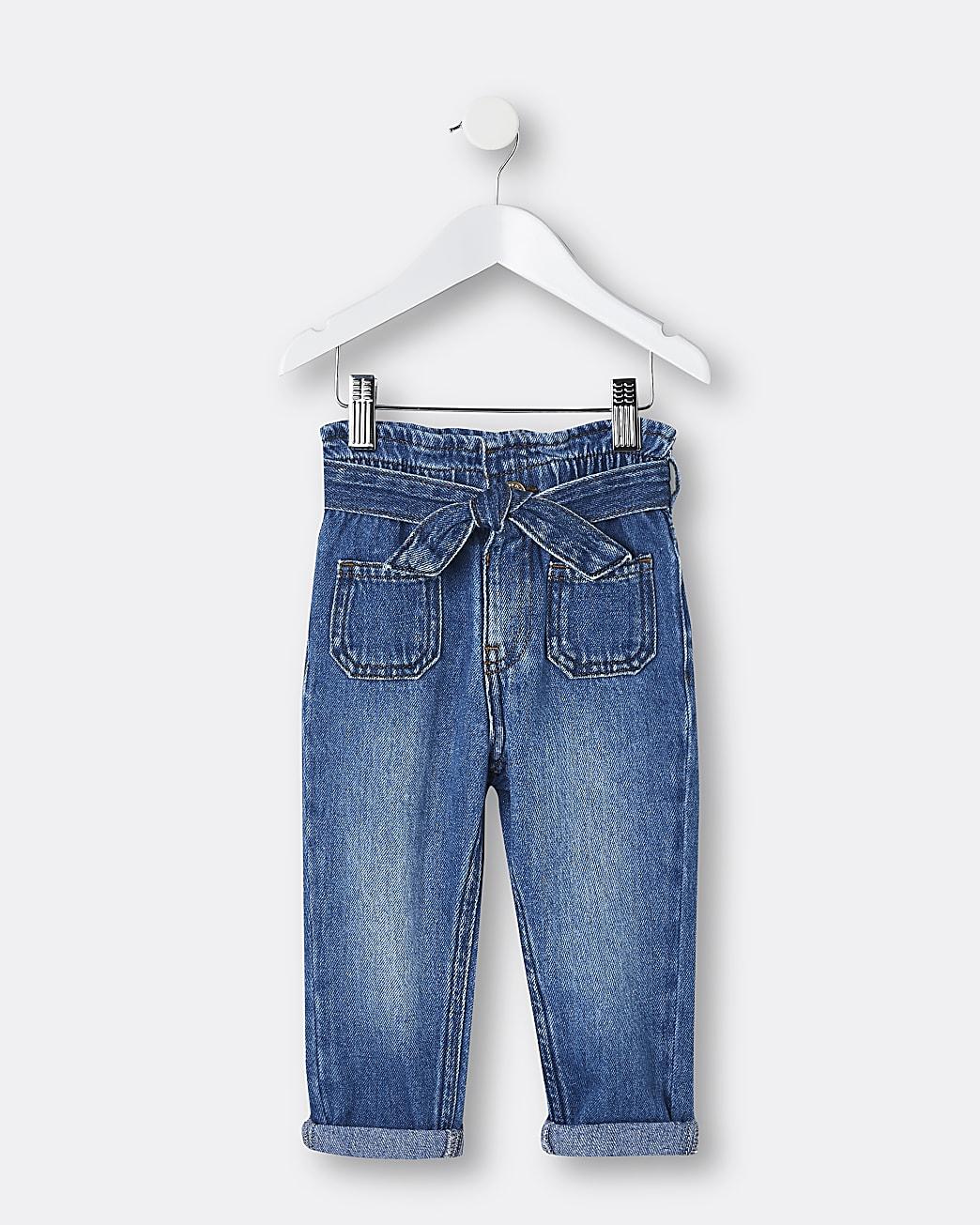 Mini girls blue belted paper bag jeans