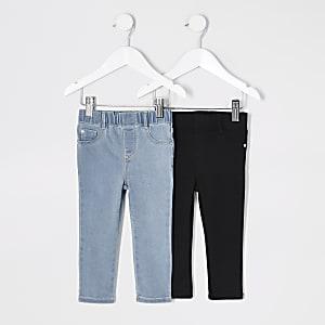 Mini– Blaue und schwarze Jeggings für Mädchen im Set
