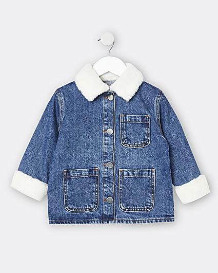 Mini girls blue borg collar denim jacket