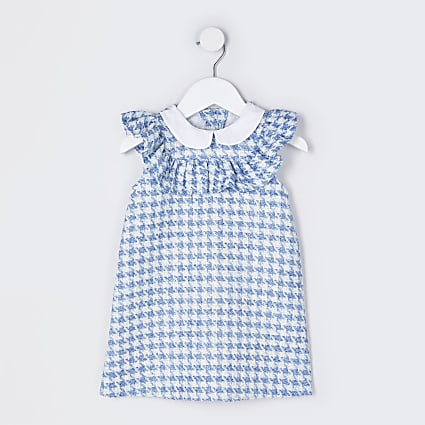 Mini girls blue boucle collar smock dress