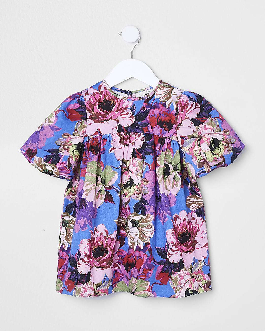 Mini girls blue bow back floral smock dress