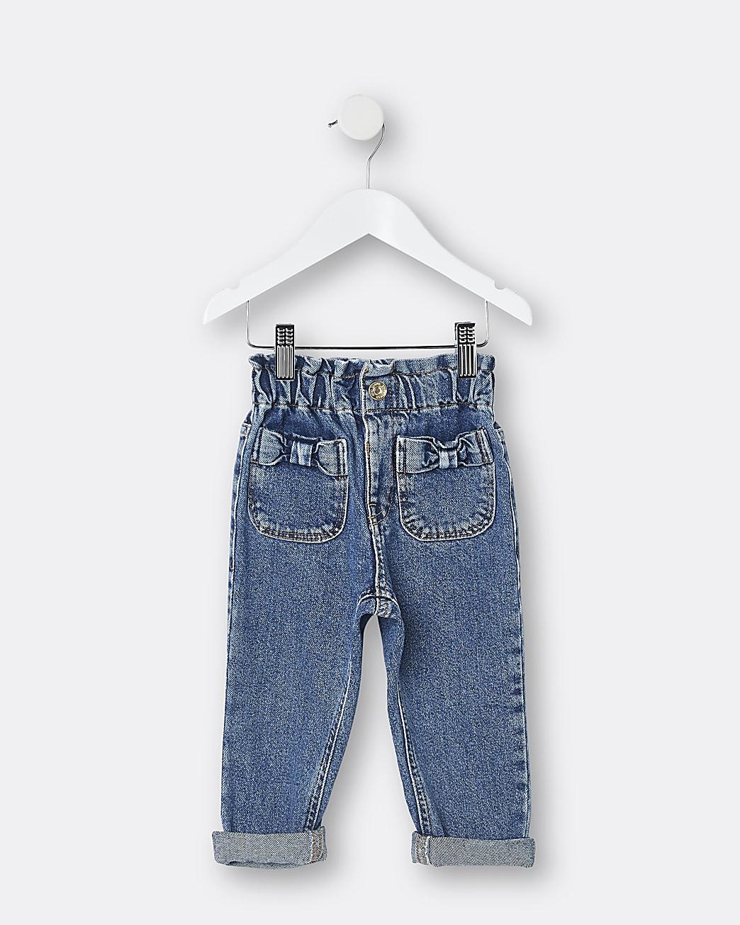 Mini girls blue bow pocket paper bag jeans