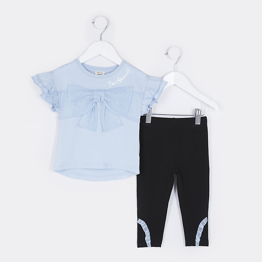Mini girls blue bow t-shirt and leggings set