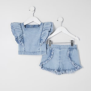 Mini girls blue broderie frill denim outfit
