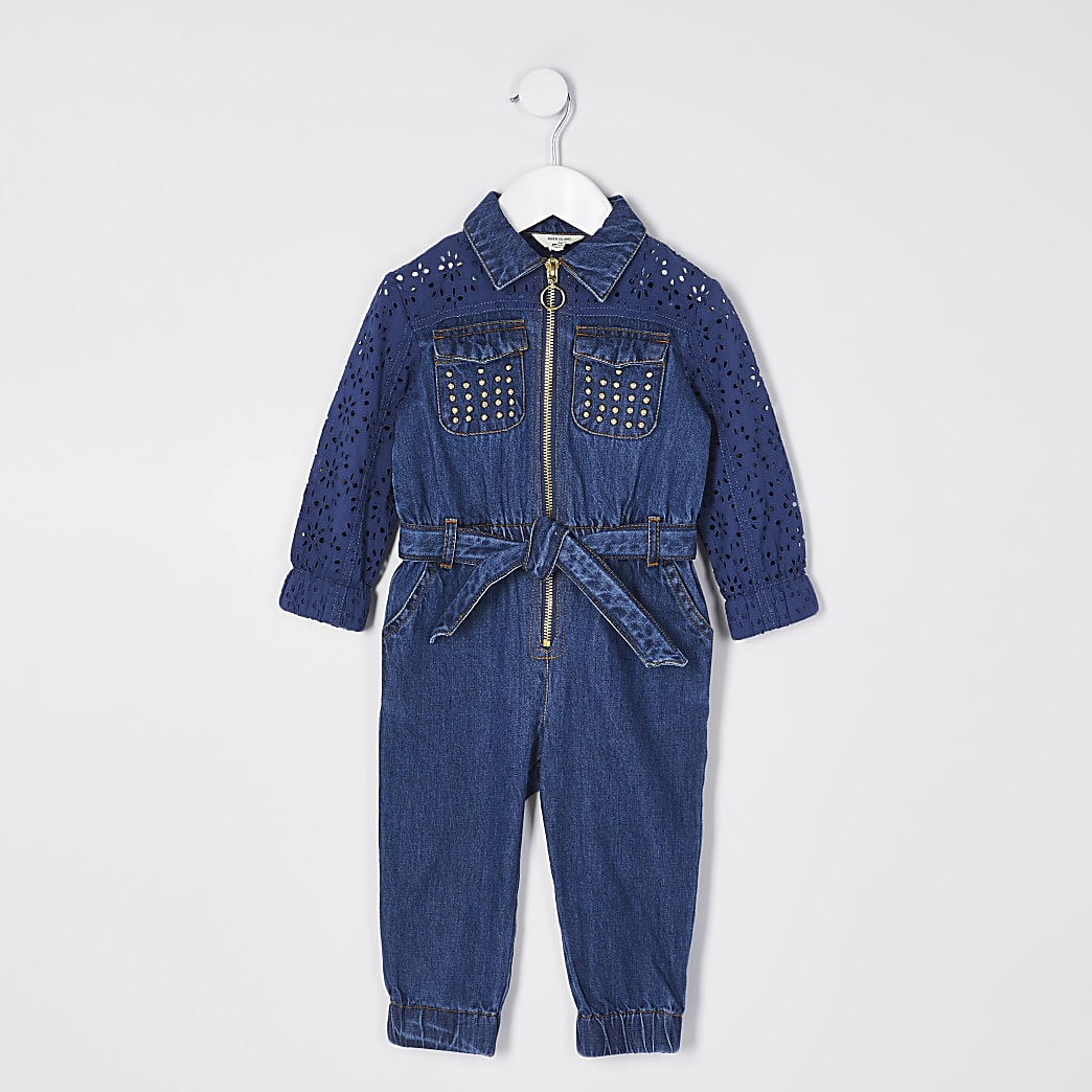 Mini girls blue broderie sleeve jumpsuit