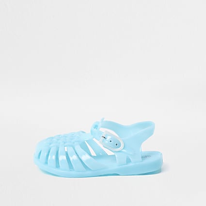 Mini girls blue caged jelly sandals