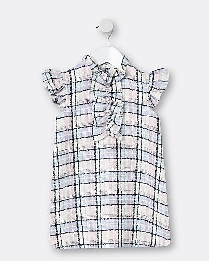 Mini girls blue check frill shift dress