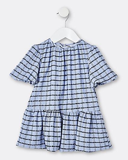 Mini girls blue check puff sleeve smock dress