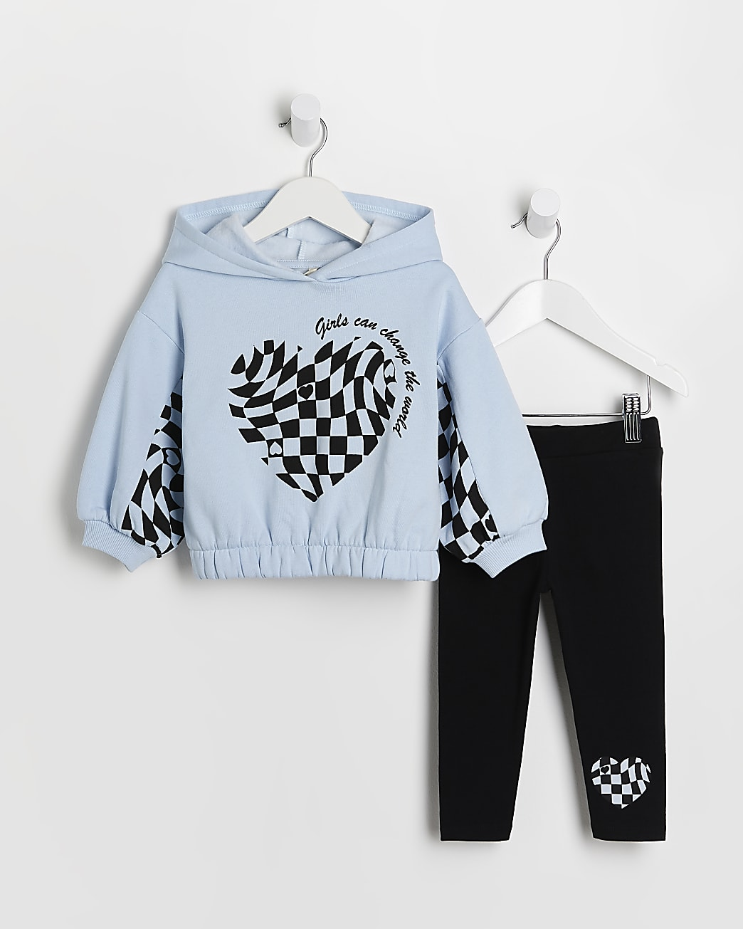 Mini girls blue checkerboard hoodie outfit