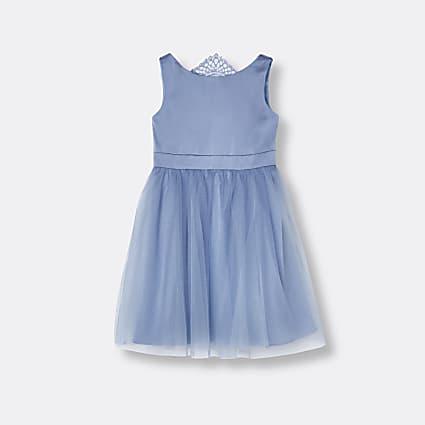 Mini girls blue Chi Chi lace trim dress