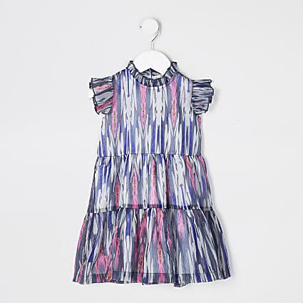 Mini girls blue chiffon tiered dress