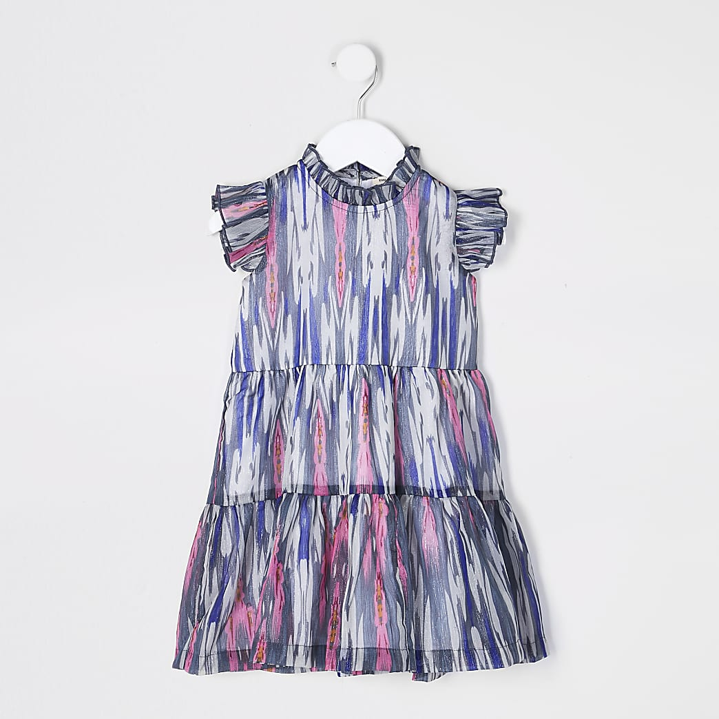 Mini girls blue chiffon tiered dress