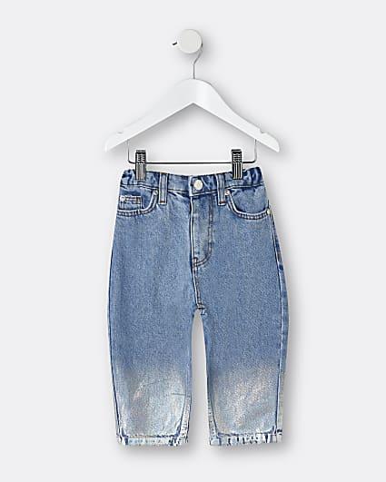 Mini girls blue coated mom jeans