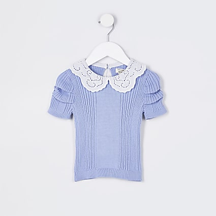 Mini girls blue collared knitted t-shirt