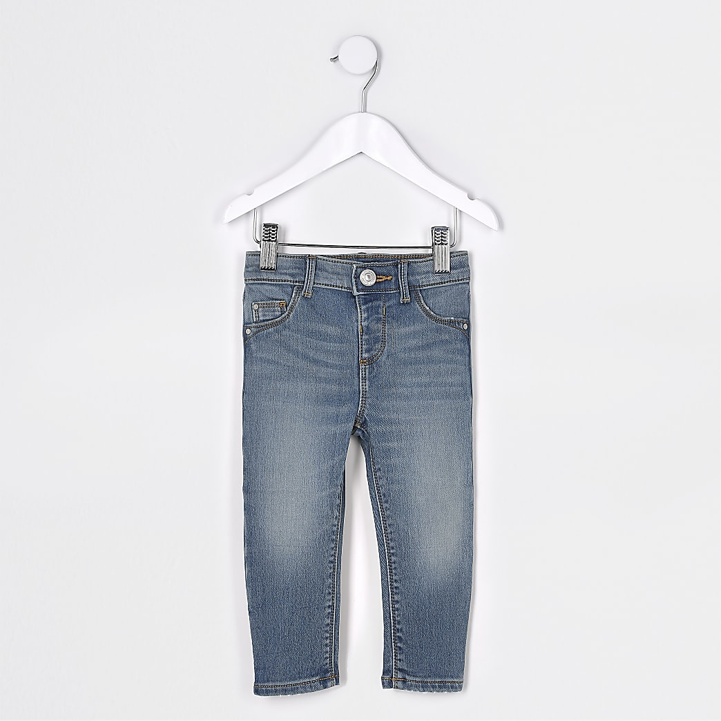 Mini girls blue comfort mid rise jeans