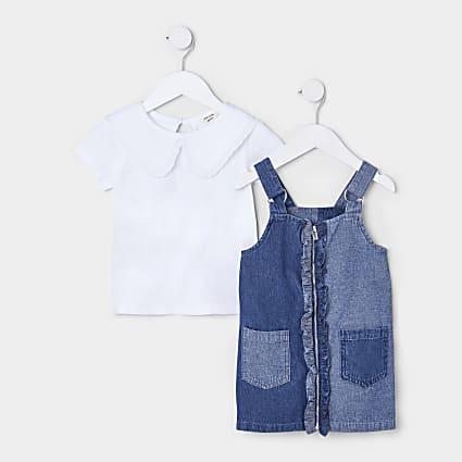 Mini girls blue denim 2 piece collared dress
