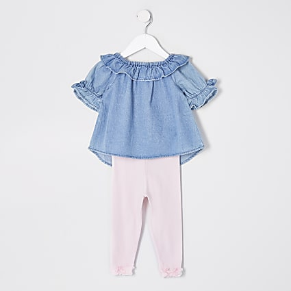 Mini girls blue denim bardot top outfit