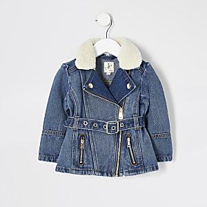 Mini - Blauw denim jack met ceintuur voor meisjes