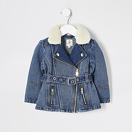 Mini girls blue denim belted jacket