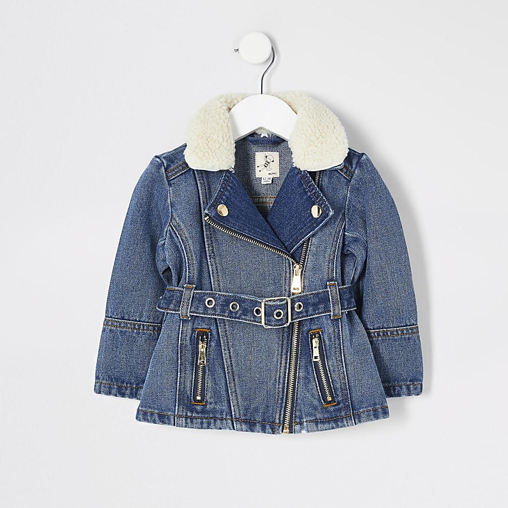 Mini girls blue denim belted jacket