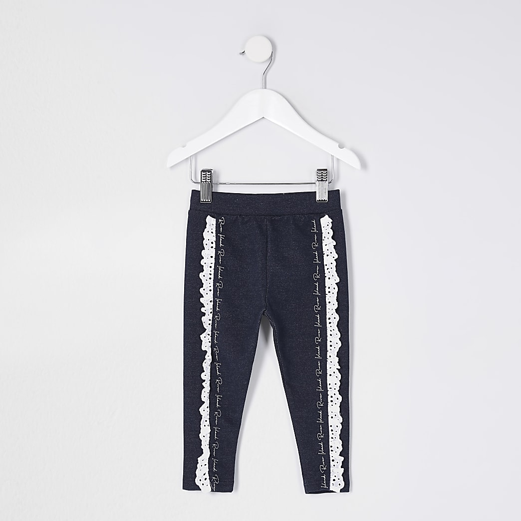 Mini girls blue denim broderie frill legging