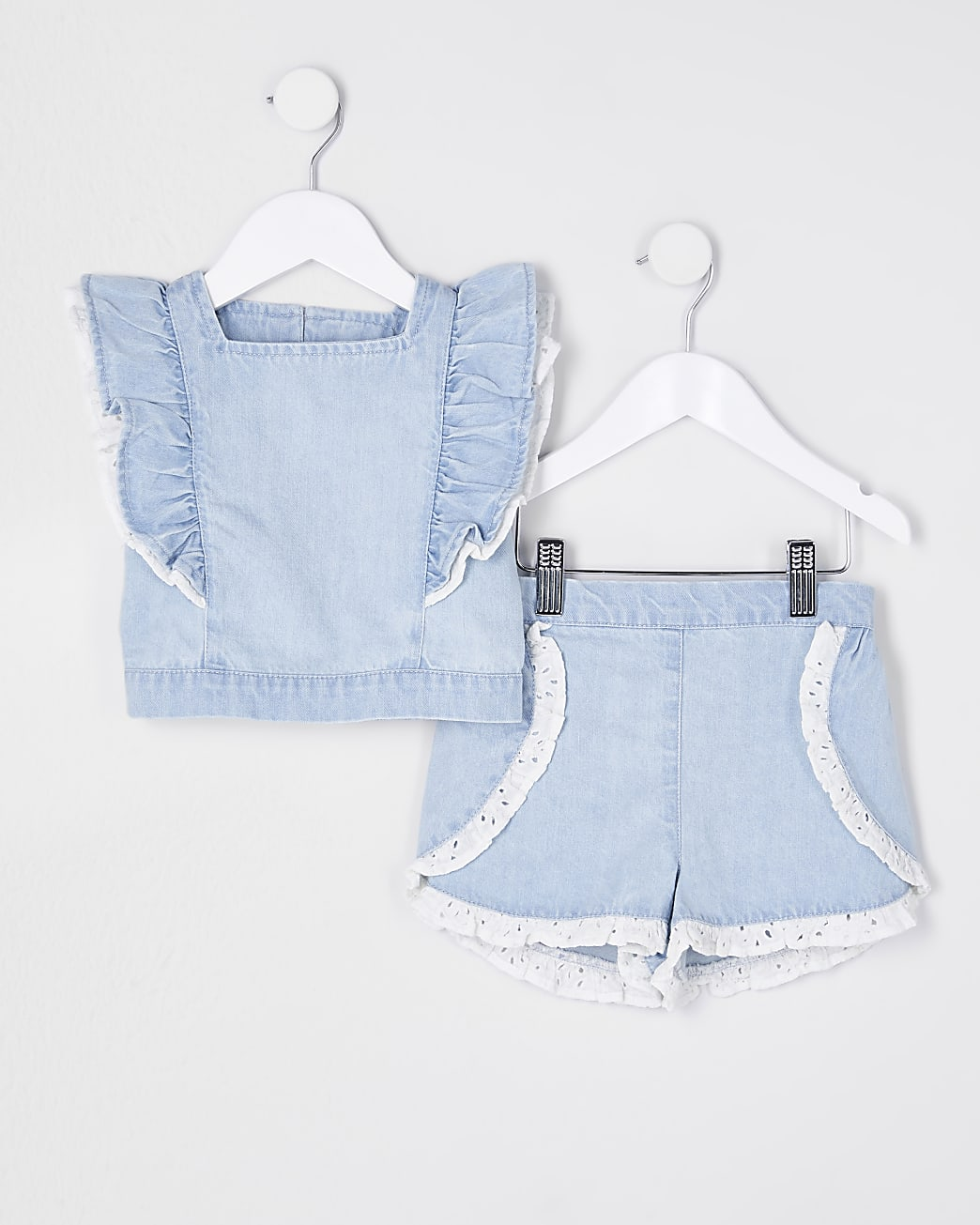 Mini girls blue denim broderie outfit