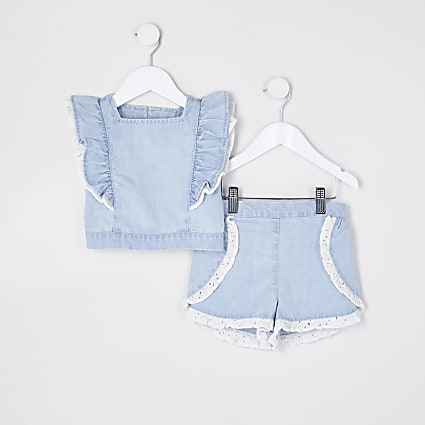 Mini girls blue denim broderie outfit